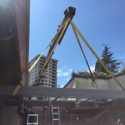 Placing beams for West Vancouver Memorial Library using our 800 Hiab