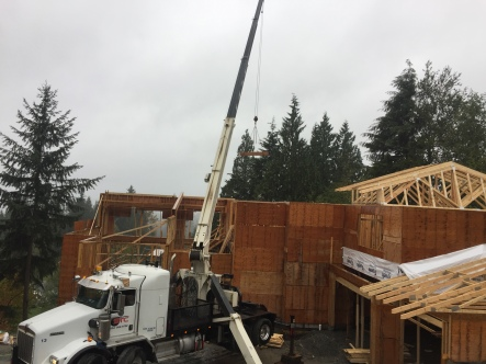 Photo Credit: Morgan B. | Placing beams at a new housing development.